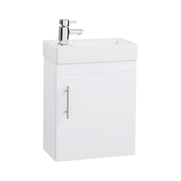 Gloss White Wall mounted compact BU with basin