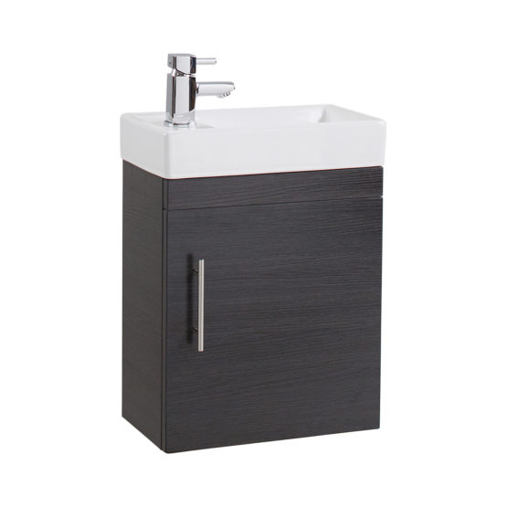 Black Ash Wall mounted compact BU with basin