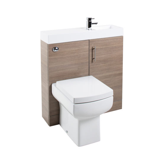 CubePlus Medium Oak WC Unit, Basin Unit & Basin ONLY
