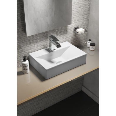 Rectangular Wall Hung / Counter Top Ceramic Vessel Basin 1 Tap Hole
