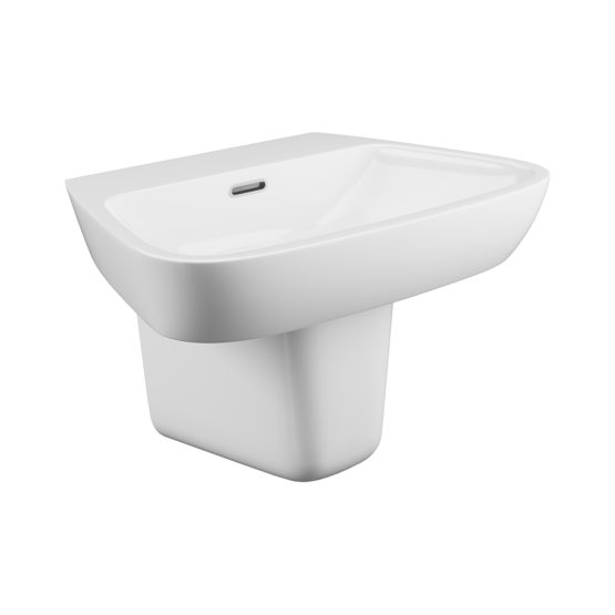 Dearne 1 tap hole basin and semi pedestal