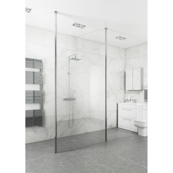 Floor To Ceiling 3M Support Pole Chromed 10mm Glass