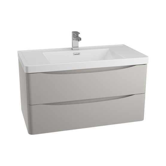 BALI Matt Grey Wood 900mm Wall Mounted Cabinet & Basin