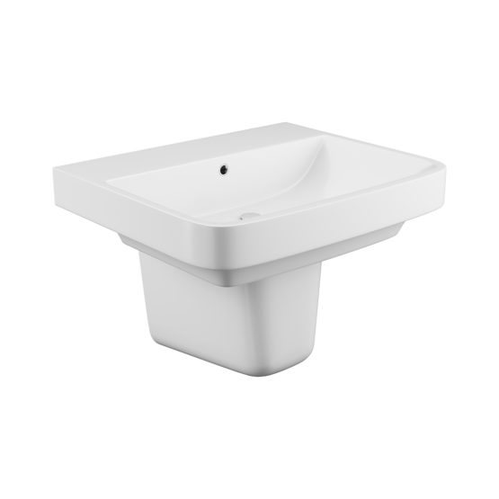 Rivelin 1 tap hole basin and semi pedestal