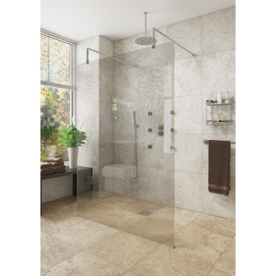 Lana 2000mm High 1400mm Wetroom Screen 10mm Glass Sheet Size: 1370mm x 2000mm