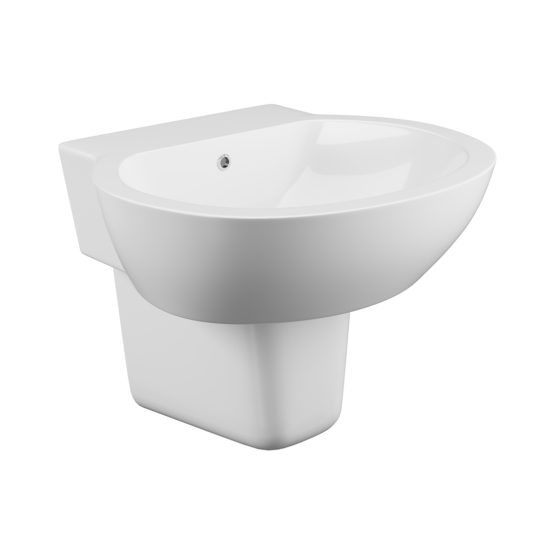 Wharfe 1 tap hole basin and semi pedestal
